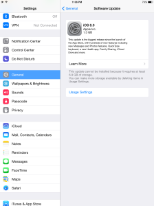 iPad Air iOS 8 Space