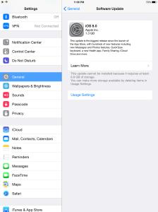 iPad Air iOS 8 Space